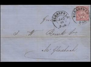 Norddeutscher Bund 4 Freimarke 1 Gr. EF Bf ELBERFELD 1.10.69 n. Mönchengladbach