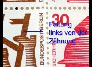 MH 9a Unfall mit deutlicher Fehlfaltung links von der Perforation, ** postfrisch