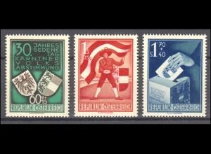 Österreich 952-954 Volksabstimmung in Kärnten, postfrischer Satz **