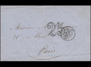 Frankreich Vorphilatelie Briefvorderseite LYON 12.4.52 mit Großer 25 nach Paris