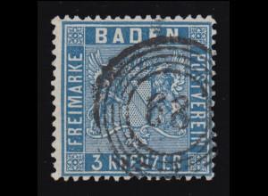 Baden 10a Wappen 3 Kr. preußischblau, Fünfring-O 68 Kehl, geprüft Stegmüller BPP