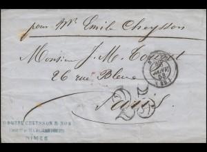 Frankreich Vorphilatelie Brief NIMES 26.1.53 mit Großer 25 n. Paris 28.1.53