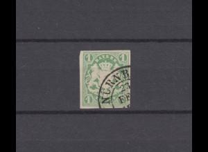 Bayern 14 Wappen 1 Kreuzer mit PLF schräge Ecke, Zweikreisstempel NÜRNBERG