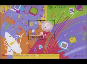 Macao Hologramm-Block Systeme und Services der Telekommunikation 1999, **