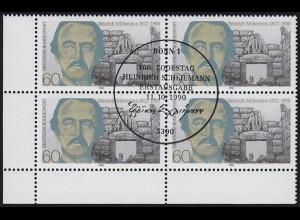 1480 Heinrich Schliemann 1990: Eckrand-Viererblock unten links ESSt Bonn