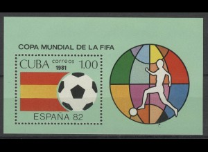 Fußball Karibik: Block SPANIEN'82 - Fußballer vor Erdglobus, **