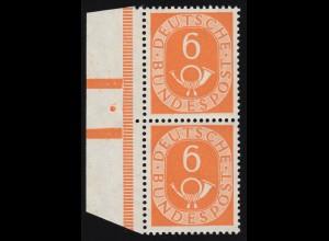 126 Posthorn 6 Pf im senkrechten Randpaar mit Klischeenagel und Balkenzudruck **