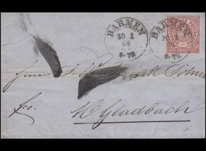 Norddeutscher Bund 4 Freimarke 1 Gr EF Brief BARMEN 30.1.69 nach Mönchengladbach