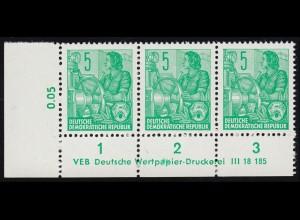 Baden 10b Wappen 3 Kreuzer - in ultramarin, mit Fünfring-O 55 auf Briefstück