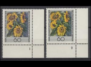 728 Karl Schmidt-Rottluff Berlin 1984: 2 Ecken mit FN 1 und FN 2 **