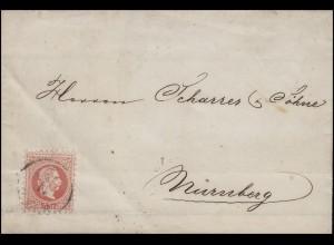Österreich 37 Kaiser Franz Joseph EF Brief SAAZ 11.12. nach NÜRNBERG 13.12.1868