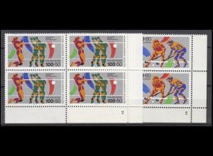 836-837 Sport Volleyball Feldhockey 1989: Satz ER-Viererblöcke mit FN 2 **
