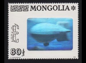 Mongolei Hologramm Luftschiff Zeppelin 1999, **