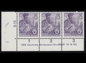 579B Fünfjahrplan 15 Pfennig - Druckvermerk DV (3), ungefaltet, **