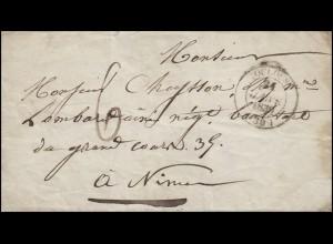Frankreich Vorphilatelie Brief TOULOUSE 24.1.1839 nach Nimes/Nismes 22.1.1839