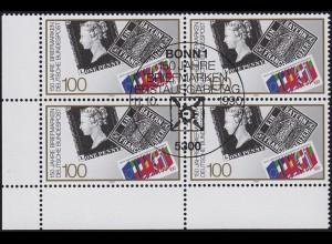 1479 150 Jahre Briefmarken als Eckrand-Viererblock unten links ESSt Bonn 1990