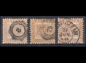 Baden 20 Wappen 9 Kreuzer Farbe-Set mit 3 verschiedenen Tönungen, verschiedene O