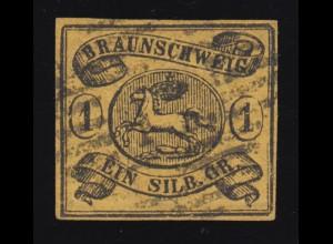 Braunschweig 6a Wappen 1 Sgr., gestempelt, geprüft Lange BPP / signiert Bühler
