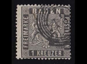 Baden 9 Wappen 1 Kreuzer, Fünfring-Stempel zweistellig, geprüft Stegmüller BPP