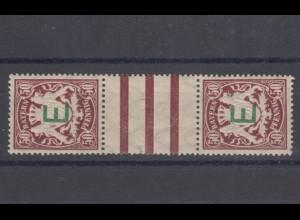 5ZS II Dienstmarken Eisenbahnbehörde 50 Pfennig im Zwischenstegpaar, **