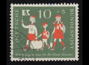 250II Berliner Kinder 10 Pf mit Plattenfehler Fleck im Hals, Feld 25, gestempelt