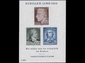 Bl.12 Schiller-Jahr 1955 mit PLF II Gesicht mit zwei Warzen, postfrisch **