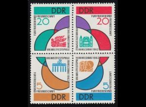 901-904 Weltfestspiele Helsinki 1962 - Viererblock **, 903 geprüft Schönherr BPP
