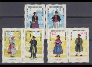 1074-1079 Volkstrachen 1964 - Satz 3 ZD **, alle Werte geprüft Schönherr BPP