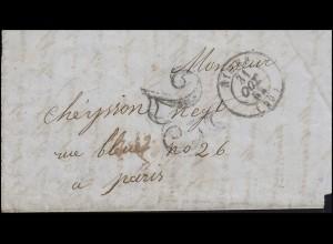 Frankreich Vorphilatelie Brief NIMES 11.10.53 mit Großer 25 nach Paris 2.11.53