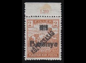 Ungarn (Serbische Besetzung von Baranya): 43 Aufdruckmarke, ** signiert