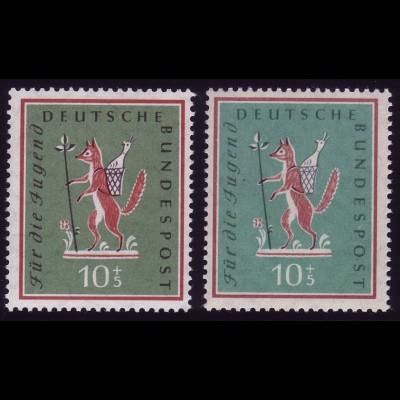 286 Jugend 10 Pf. Farbvariante blaugrün / graue Inschrift, ** postfrisch