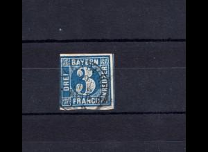 Bayern 2II Ziffer 3 Kreuzer - Zweikreisstempel Umtausch AUGSBURG 29.11.1856