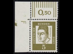 347y Br Albertus Magnus als Eckrandstück oben links mit Randvermerk F, **