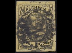 Sachsen 11 F2 König Johann I. mit PLF gebr. Rand rechts unten, signiert KASTAUN