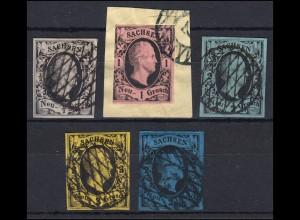 Sachsen 3-7 König Friedrich August II., 5 Werte, alle gestempelt, 5-7 signiert