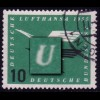 206 Lufthansa 10 Pf. mit PLF: Kerbe im U von DEUTSCHE, Feld 41, gestempelt