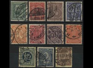 23-33 Dienstmarken 1920, Satz komplett, 11 Werte, ausgesuchte Stempeln