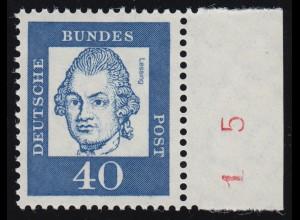 355y Br Lessing 40 Pf als Einzelmarke mit rotem Bogenzähler-Teil, ** posfrisch