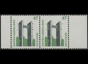1932 SWK Berus 47 Pf. - Rand-Paar: links schmaler - rechts breiter Rand, **