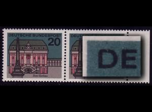 424 Bonn - PLF D in DEUTSCHE links oben abgerundet, ** postfrisches Paar