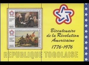 Togo: 200. Jahrestag Amerikanische Unabhängkeitserklärung 1976, Block **