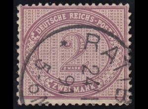 37a Innendienst 2 Mark - Farbe a, RATIBOR 24.11.1891, geprüft WIEGAND BPP
