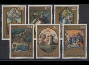 Jugoslawien: Chrstusgemälde & Paintings Benkovic Jelovsek Kokolja, 6 Werte **