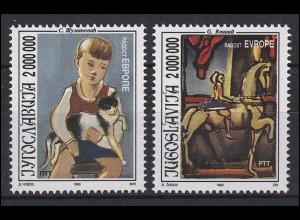 Jugoslawien: Europa Gemälde & Paintings Kinderzeichnungen, 2 Werte, Satz **