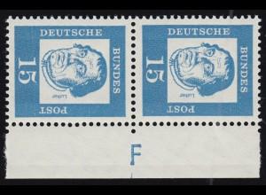 351y Br Luther 15 Pf als Paar mit Randvermerk F, ** postfrisch