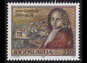 Jugoslawien: Schriftsteller Ivan Gundulic / Giovanni Gondola, Marke **