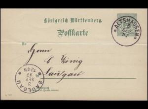 Württemberg P 37 Ziffer 5 Pf. DV 15 7 97 von ALTSHAUSEN 3.9.97 nach SAULGAU