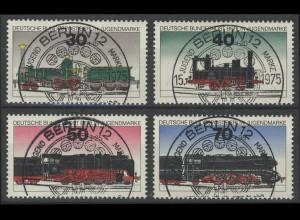 488-91 Jugend: Lokomotiven 1975, Satz ESSt Berlin, zentrisch gestempelt