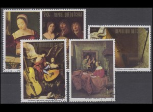 Tschad: Gemälde Paintings Musikinstrumente Musical Instruments 1972, 5 Werte O