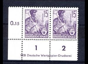 579A DV8 1-2 Fünfjahrplan 15 Pf Eckrand-Paar - Druckvermerk, ungefaltet, **